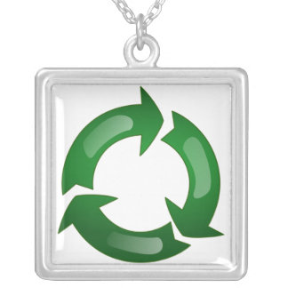 Green Glassy Recycle Symbol Custom Jewelry