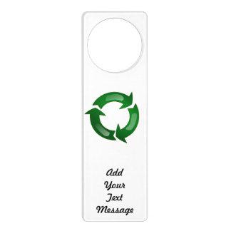 Green Glassy Recycle Symbol Door Knob Hanger
