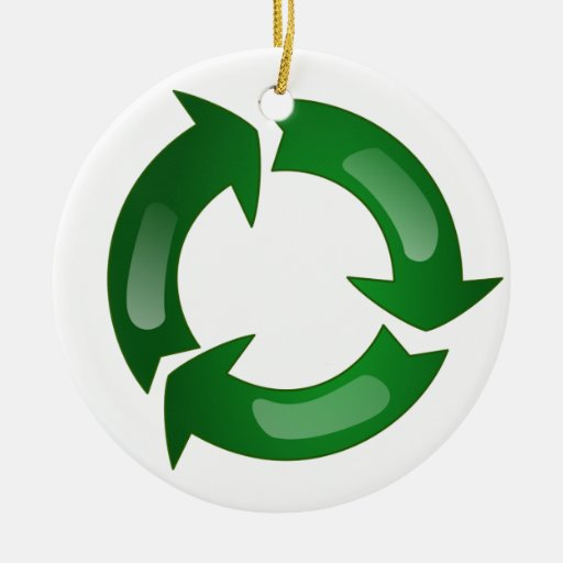 Green Glassy Recycle Symbol Double-Sided Ceramic Round Christmas Ornament
