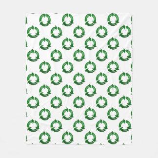 Green Glassy Recycle Symbol Fleece Blanket