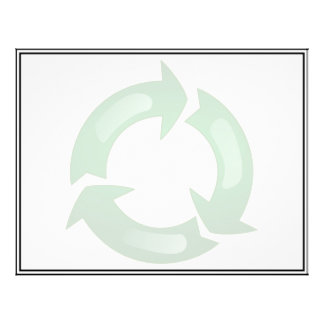 "Green Glassy Recycle Symbol 8.5"" X 11"" Flyer"