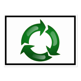 Green Glassy Recycle Symbol Large Business Card