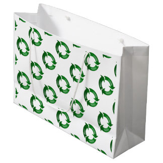 Green Glassy Recycle Symbol Large Gift Bag