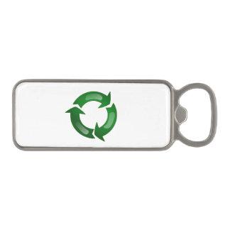 Green Glassy Recycle Symbol Magnetic Bottle Opener