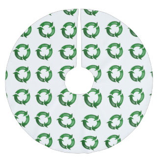 Green Glassy Recycle Symbol Brushed Polyester Tree Skirt