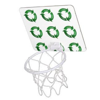 Green Glassy Recycle Symbol Mini Basketball Hoop