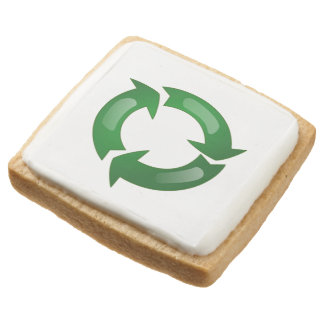 Green Glassy Recycle Symbol Square Premium Shortbread Cookie