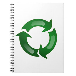Green Glassy Recycle Symbol Notebooks
