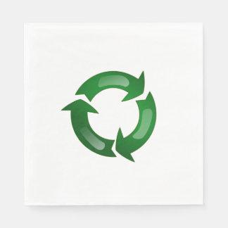 Green Glassy Recycle Symbol Standard Luncheon Napkin