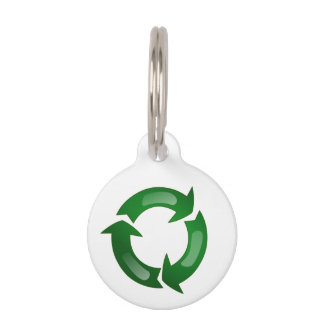 Green Glassy Recycle Symbol Pet Name Tags