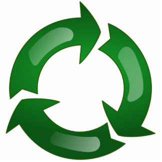 Green Glassy Recycle Symbol Photo Cut Outs