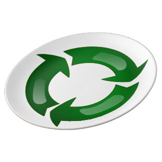 Green Glassy Recycle Symbol Porcelain Plates