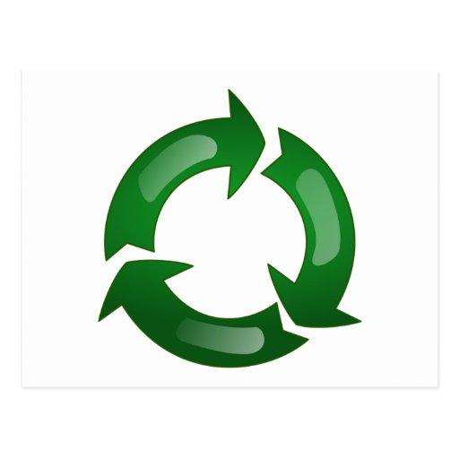 Green Glassy Recycle Symbol Postcard