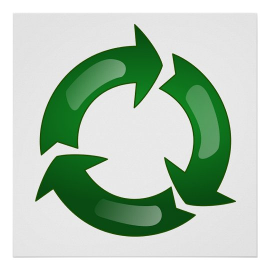 Green Glassy Recycle Symbol Poster