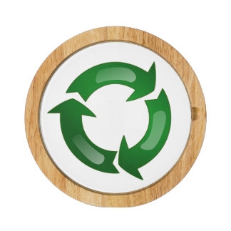 Green Glassy Recycle Symbol Round Cheeseboard
