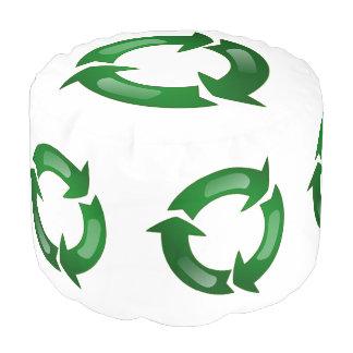 Green Glassy Recycle Symbol Round Pouf