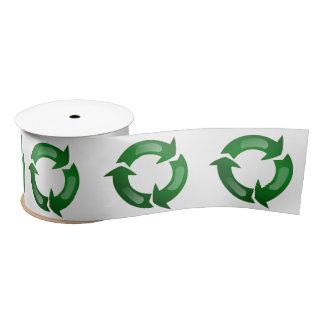 Green Glassy Recycle Symbol Satin Ribbon