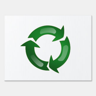 Green Glassy Recycle Symbol Sign