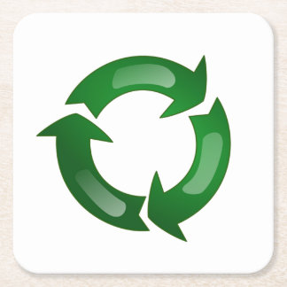Green Glassy Recycle Symbol Square Paper Coaster