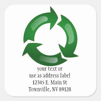 Green Glassy Recycle Symbol Square Sticker