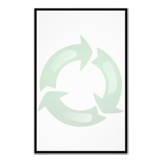 Green Glassy Recycle Symbol Personalized Stationery
