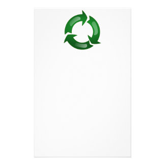 Green Glassy Recycle Symbol Stationery Paper