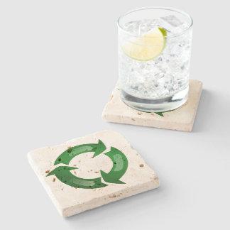 Green Glassy Recycle Symbol Stone Beverage Coaster