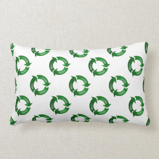 Green Glassy Recycle Symbol Throw Pillow