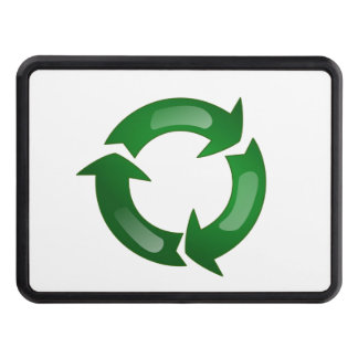 Green Glassy Recycle Symbol Trailer Hitch Covers