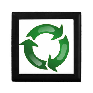 Green Glassy Recycle Symbol Trinket Boxes