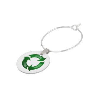 Green Glassy Recycle Symbol Wine Charm
