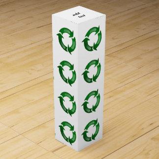 Green Glassy Recycle Symbol Wine Gift Box