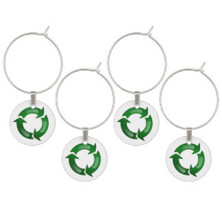Green Glassy Recycle Symbol Wine Glass Charms