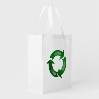 Green Glassy Recycle Symbol Market Tote