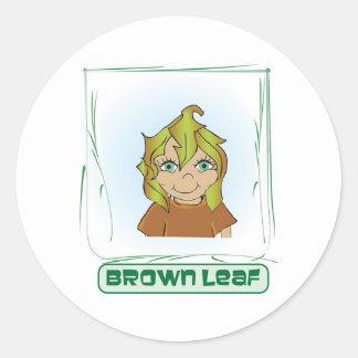 Green Glen - Brown Leaf Classic Round Sticker