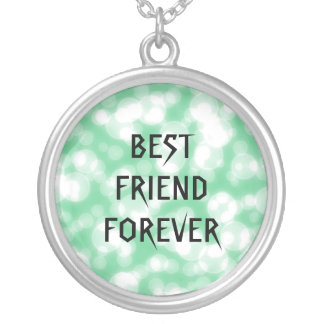 Green Glitter Best Friends Forever Round Pendant Necklace