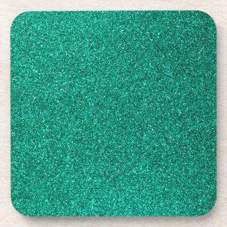 Green Glitter Beverage Coaster