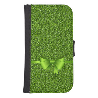 Green Glitter Bow Ribbon Wallet Phone Case For Samsung Galaxy S4