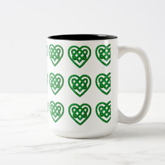 Green Glitter Celtic Heart Knot Pattern Mug