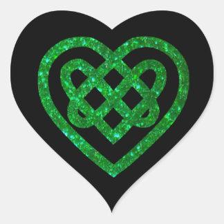 Green Glitter Celtic Heart Knot Stickers