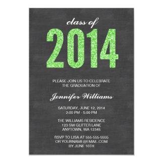 Green Glitter Chalkboard Class of 2014 Graduation Announcement