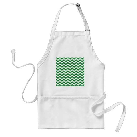 Green Glitter Chevron Pattern Adult Apron