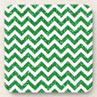 Green Glitter Chevron Pattern Beverage Coaster