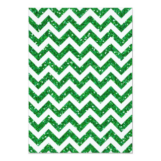 Green Glitter Chevron Pattern Card
