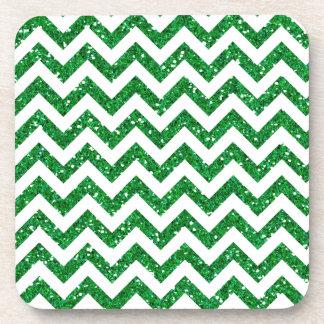 Green Glitter Chevron Pattern Coaster