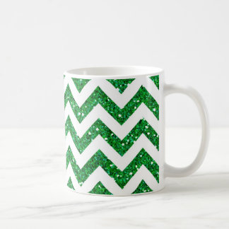 Green Glitter Chevron Pattern Coffee Mug