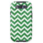 Green Glitter Chevron Pattern Galaxy S3 Covers