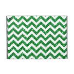 Green Glitter Chevron Pattern iPad Mini Cases