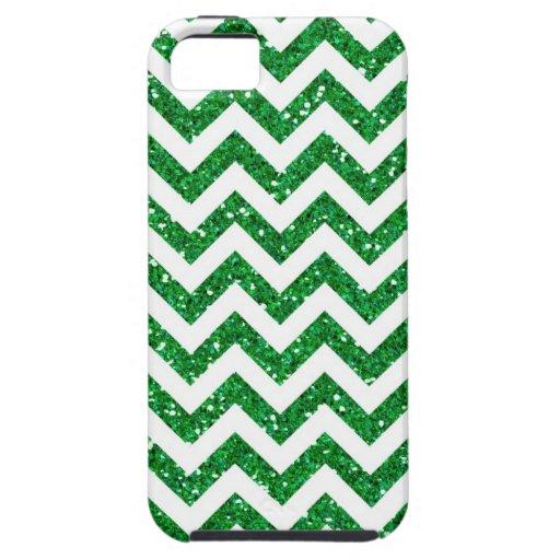 Green Glitter Chevron Pattern iPhone 5 Cases