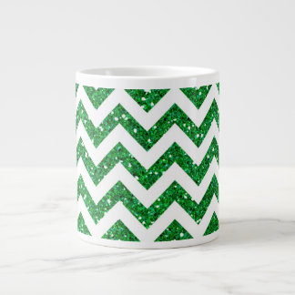 Green Glitter Chevron Pattern Large Coffee Mug